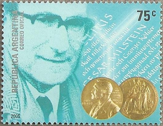 Argentinian stamp, dated 2005, celebrating Milstein's Nobel Prize