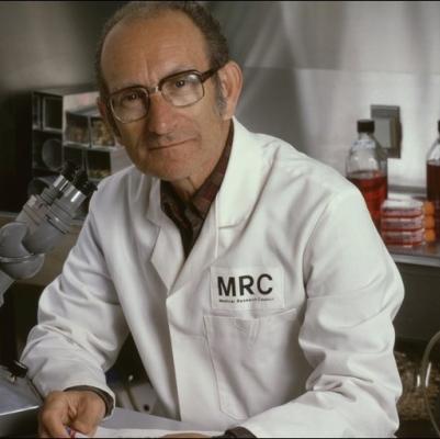 Milstein in his MRC laboratory coat.